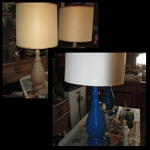I took my old lamps that I picked up at a church sale and updated them with fresh paint.
